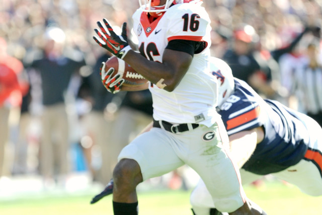 ISAIAH McKENZIE scored both of Georgia's touchdowns this afternoon in a 20-13 win over Auburn.